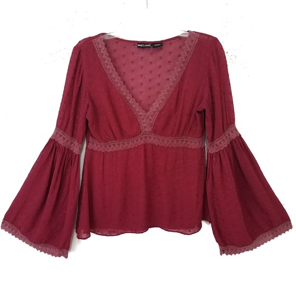 Wet Seal Tops - Women's Bell Sleeve Top Sz M